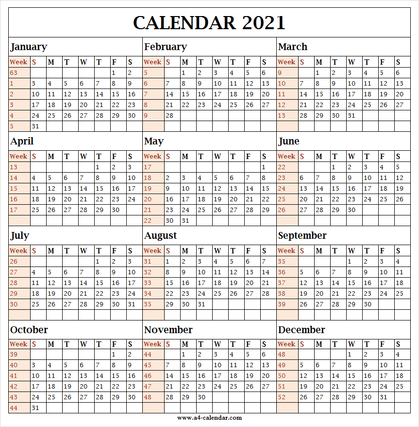 Yearly Calendar 2021 With Week Numbers - A4 Calendar