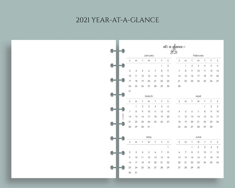 Yearly Calendar Bundle 2021 And 2022 Year-At-A-Glance