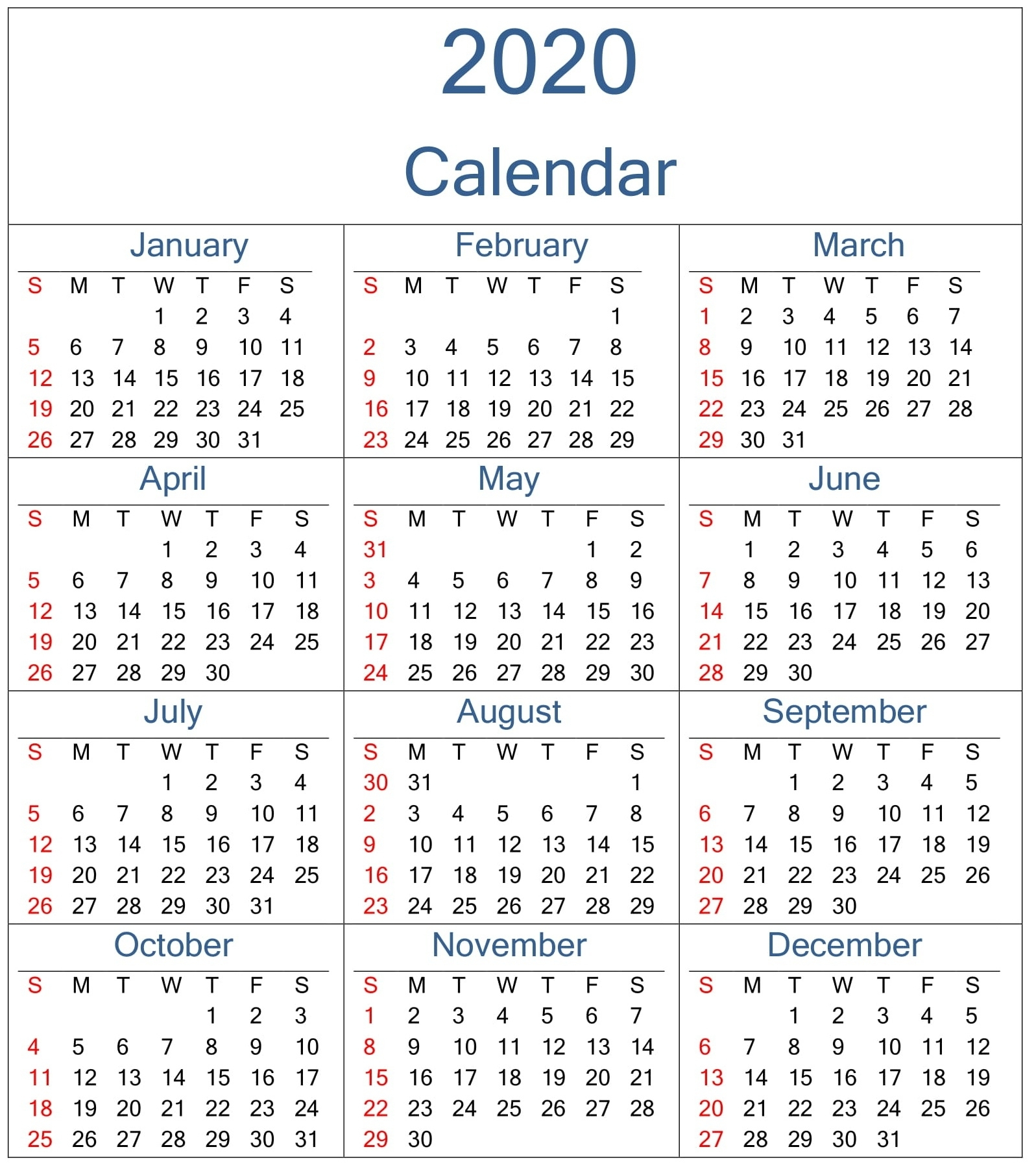 Yearly Monday To Sunday Calendar 2020 With Week Numbers