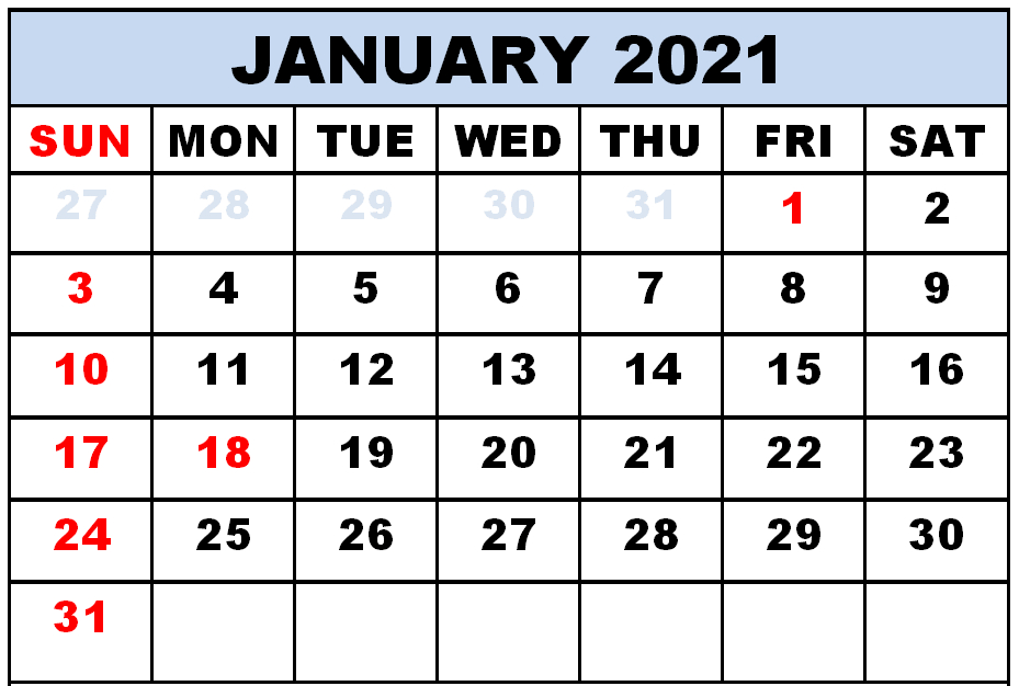 15+ Free Blank January 2021 Fillable Calendar Template To Print With Large Space Notes
