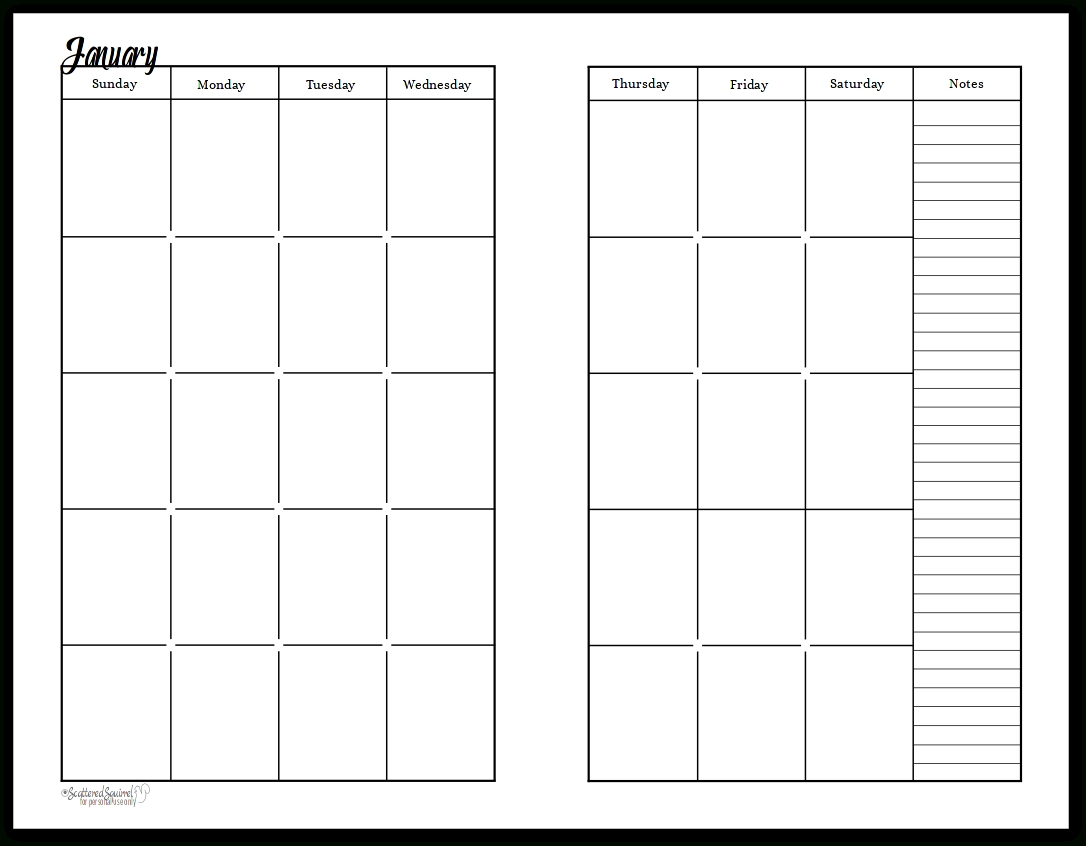 2 Page Monthly Planner Template | Calendar Template Printable