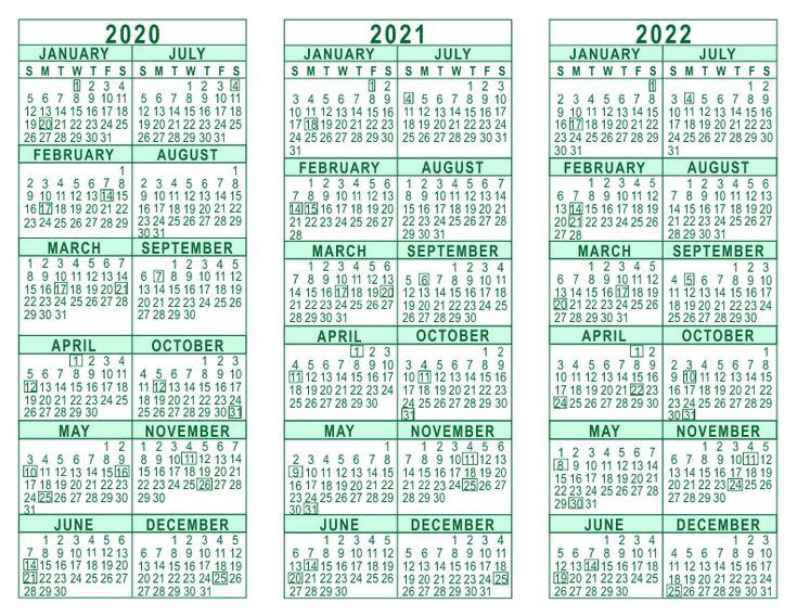 2020 2021 2022 3 Year Calendar | Calendar Printables