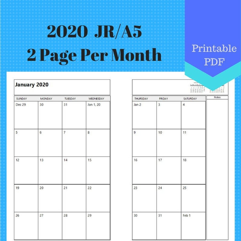 2020 Jr Two Page Per Month Monthly Calendar Pages Planner