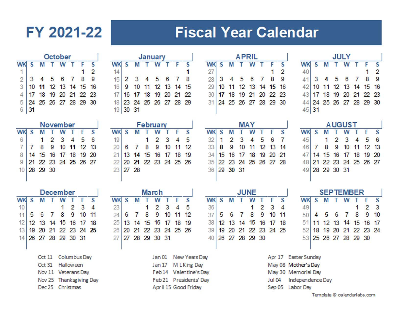2021-2022 Fiscal Planner Us - Free Printable Templates
