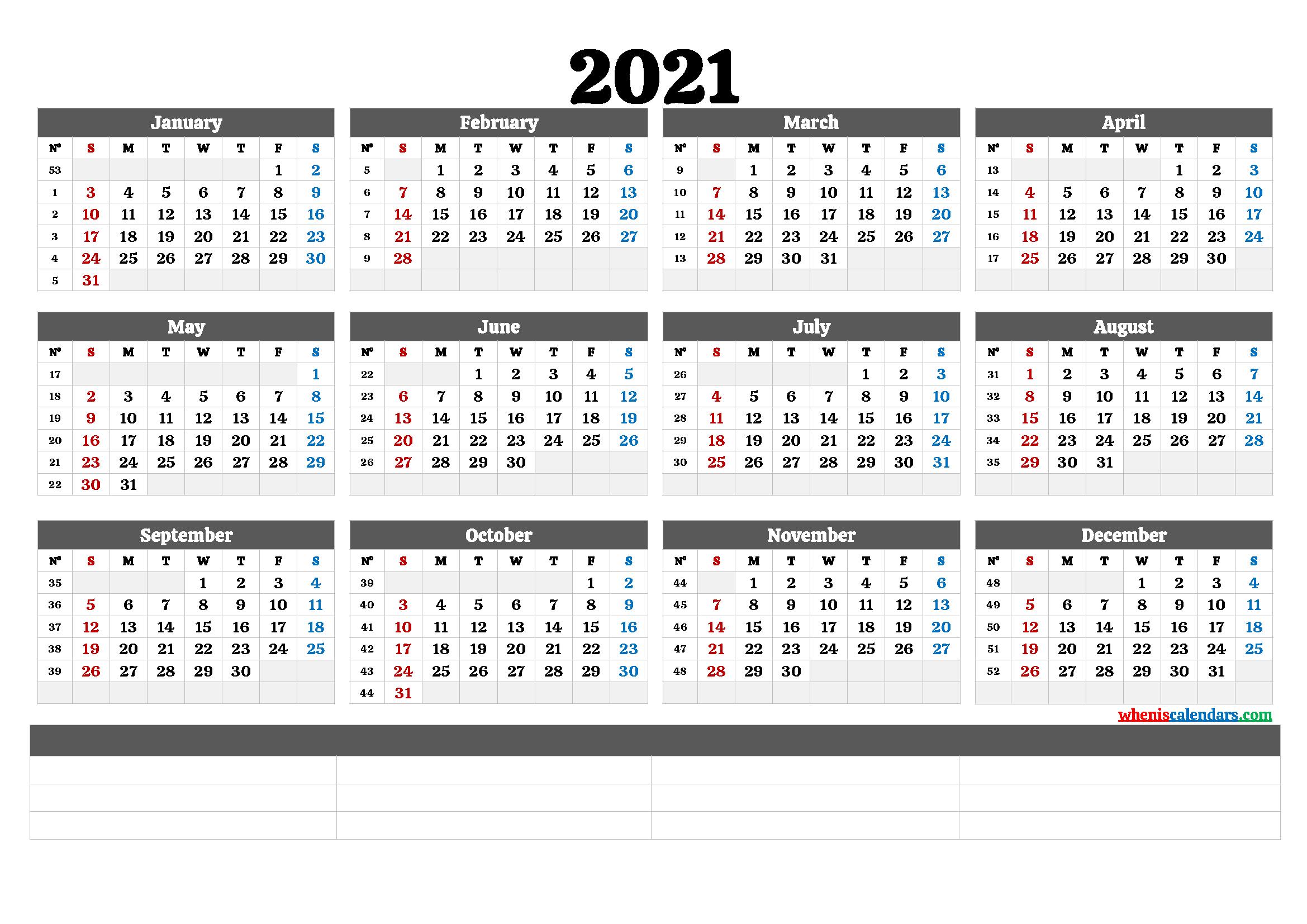 2021 Annual Calendar Printable (6 Templates)   Free