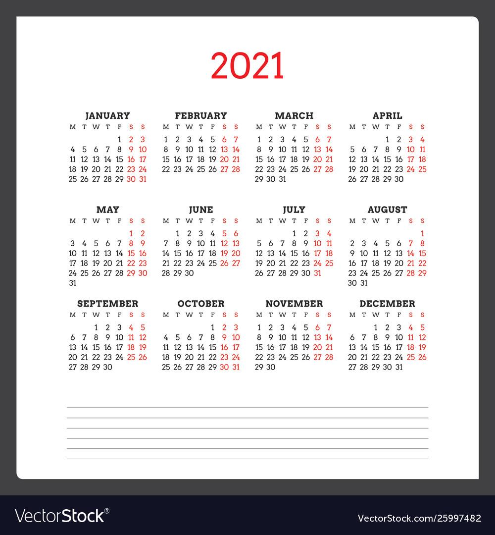 2021 Calendar Monday Start   Printable Calendars 2021