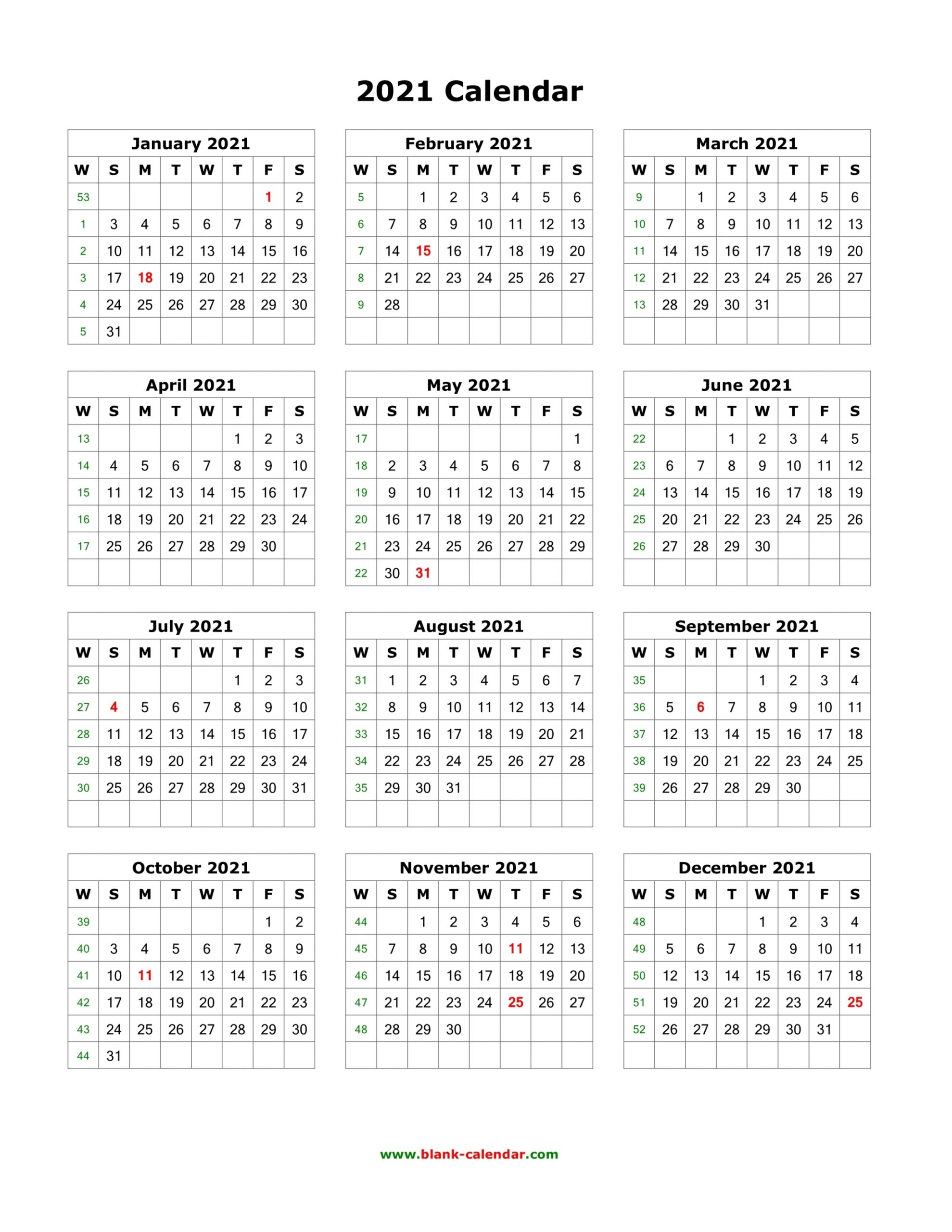 2021 Calendar One Page Template   Free Letter Templates