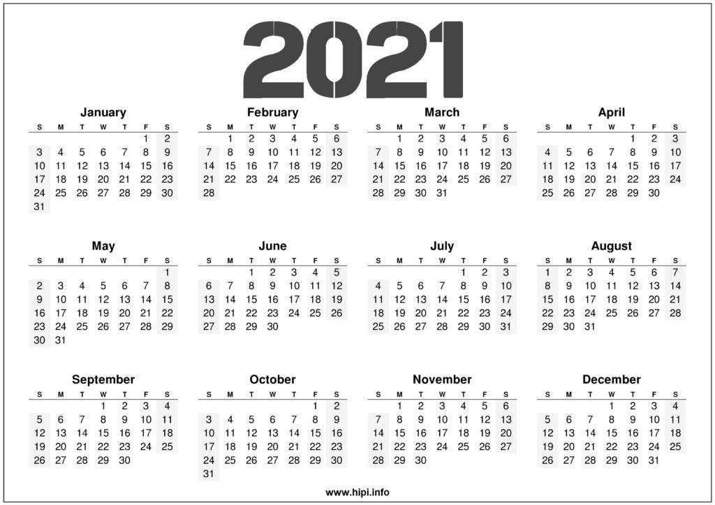2021 Calendar Printable Free - Free Download - Hipi