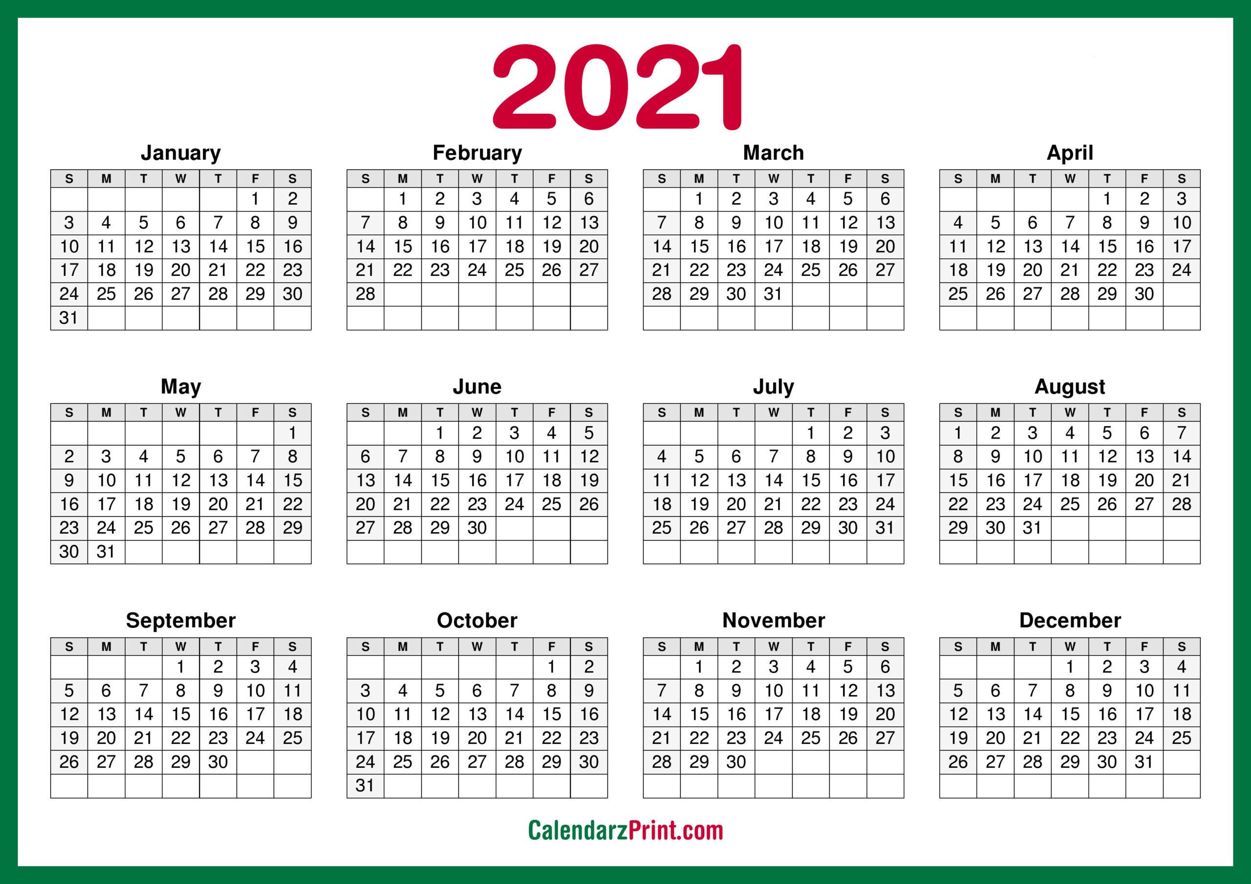 2021 Calendar Printable Pdf Free   Free Letter Templates