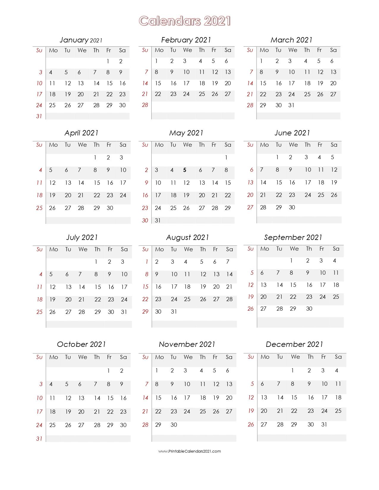 2021 Calendar To Fill In   Calendar Template Printable