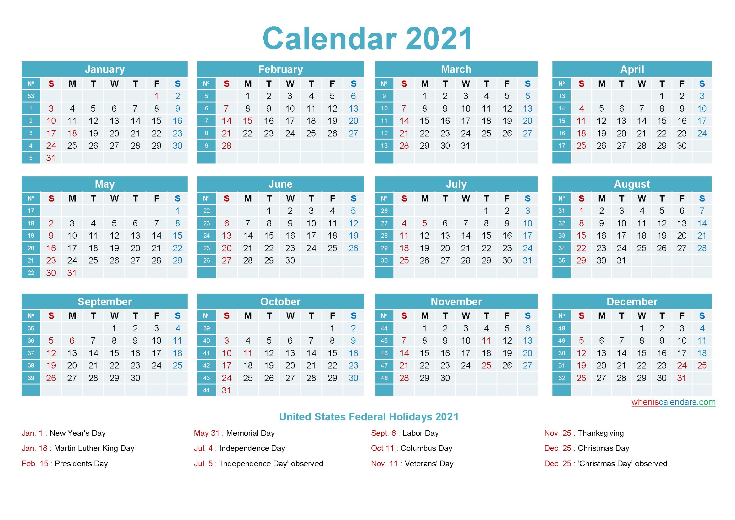 2021 Calendar With Holidays Printable Word, Pdf - Free