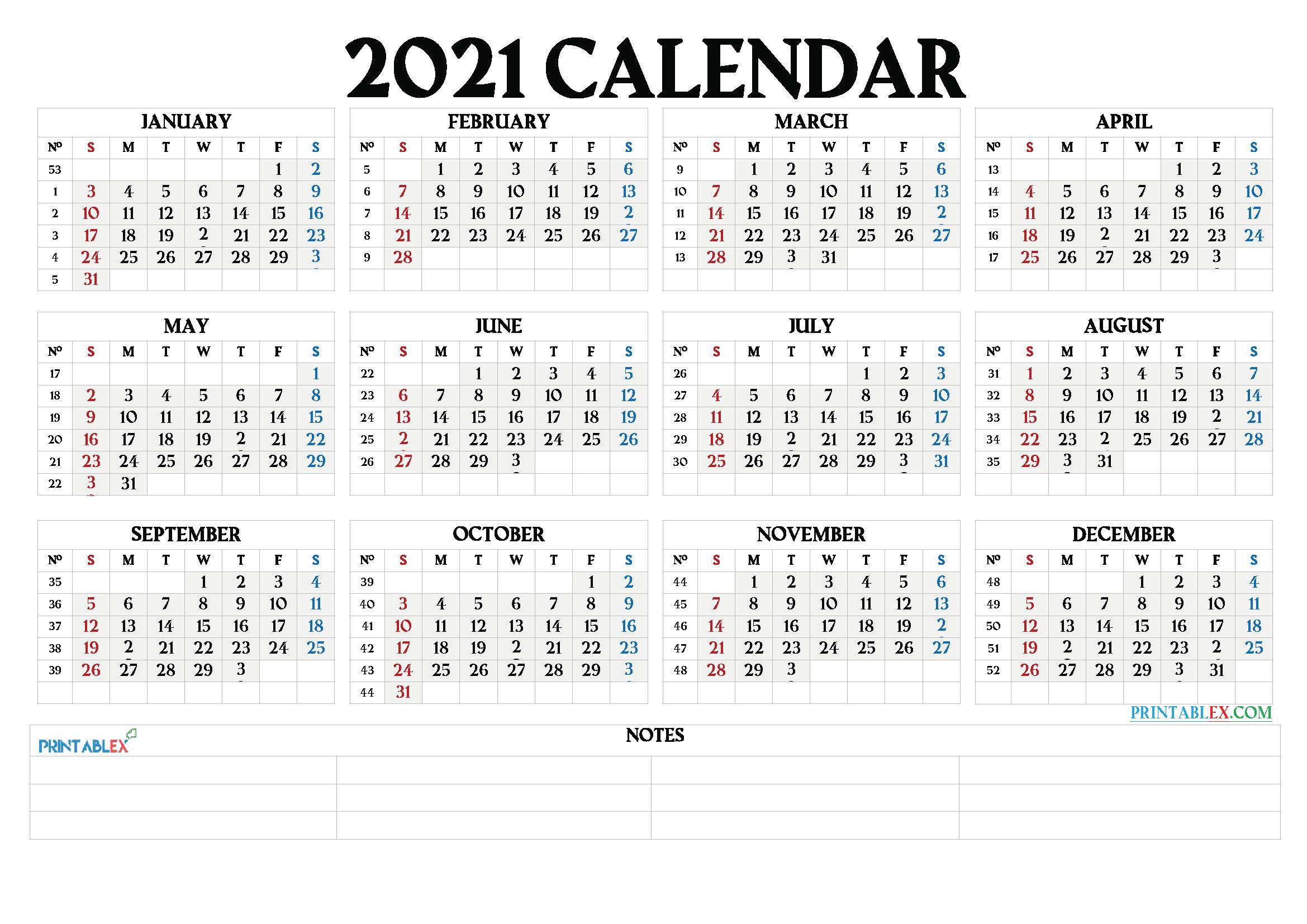 2021 Calendar With Week Number Printable Free / Free