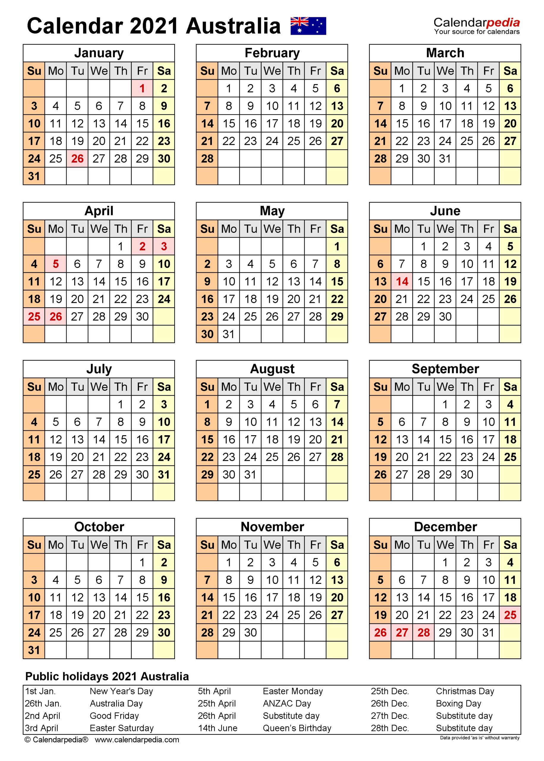 2021 Financial Calendar Australia - Template Calendar Design