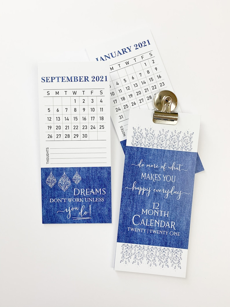 2021 Inspirational Calendar With Magnet Clip 2021 Monthly