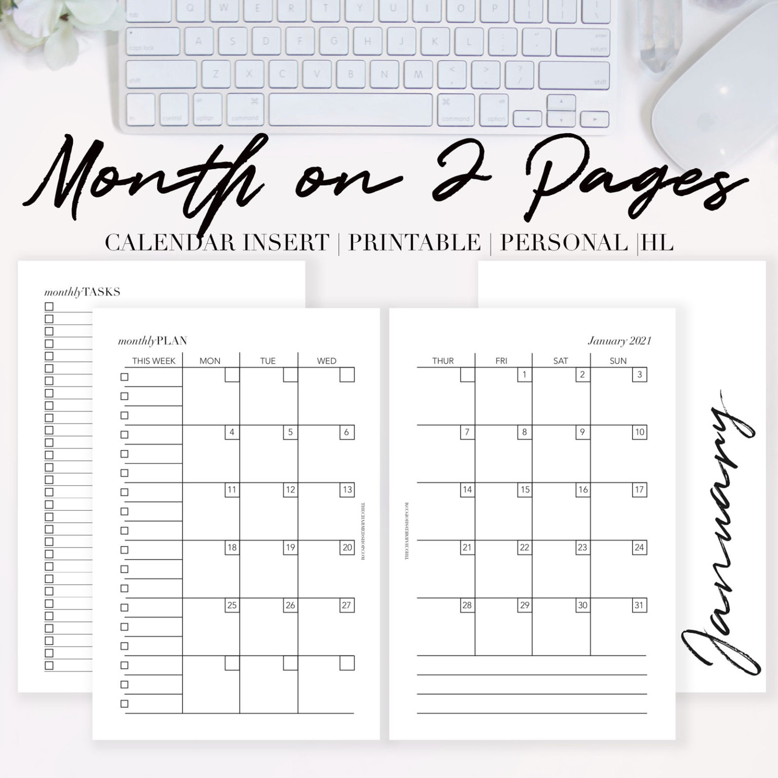 2021 Month On Two Pages Calendar {Printable Pdf} - The