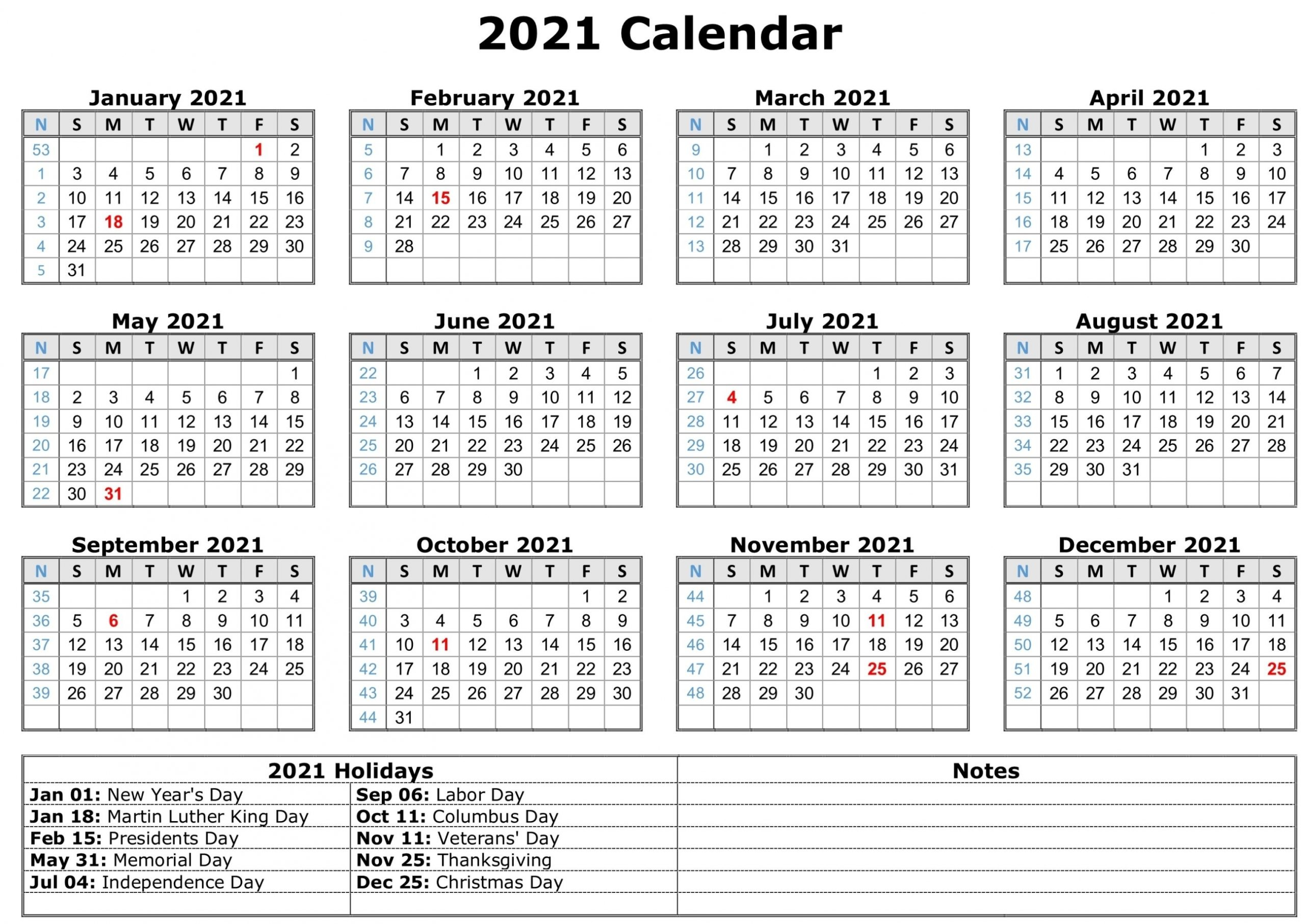 2021 Monthly Calendar With Holidays | Free Letter Templates
