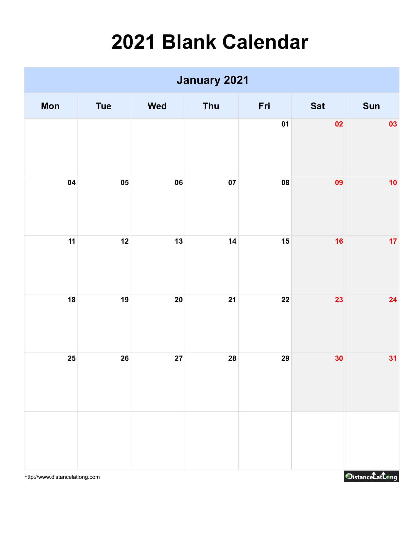 2021 Printable Calendar Monthly Portrait   2021 Printable