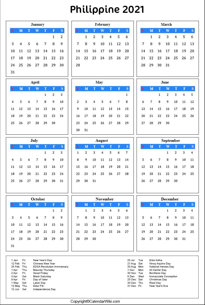 2021 Printable Calendar Philippines   2021 Printable
