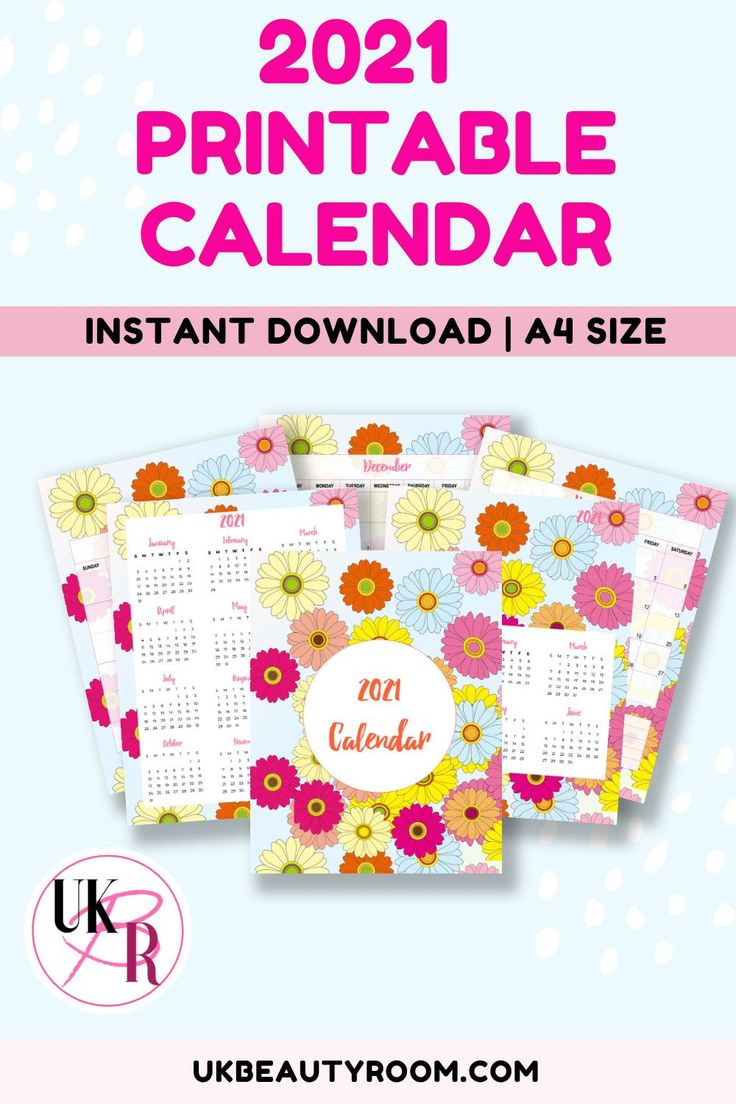 2021 Printable Calendar Year At A Glance & Monthly