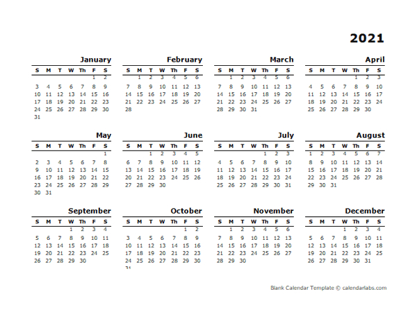 2021 Printable Yearly Design Calendar - Free Printable