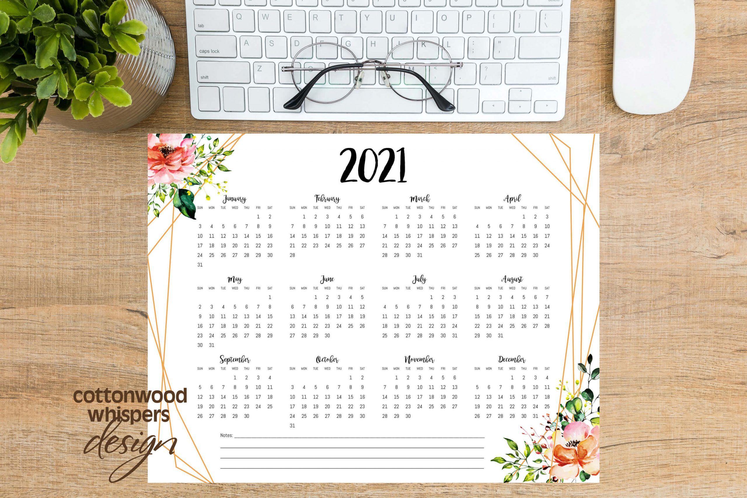 2021 Year At A Glance Calendar | Geometric Floral