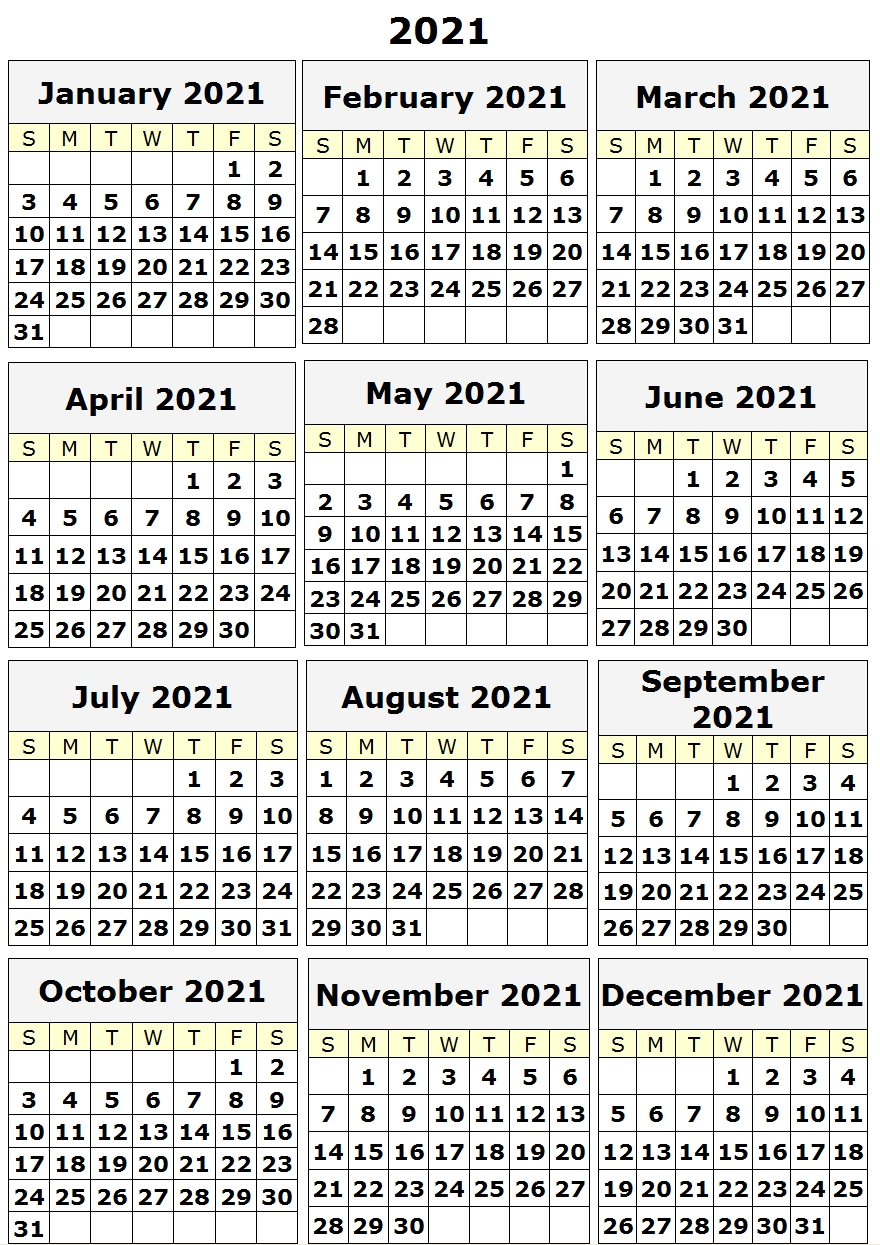 2021 Yearly Printable Calendar One Page, 12 Month Calendar