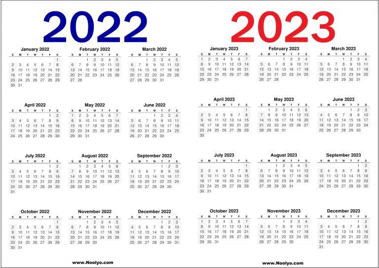 2022 And 2023 Calendar Printable Free - Noolyo