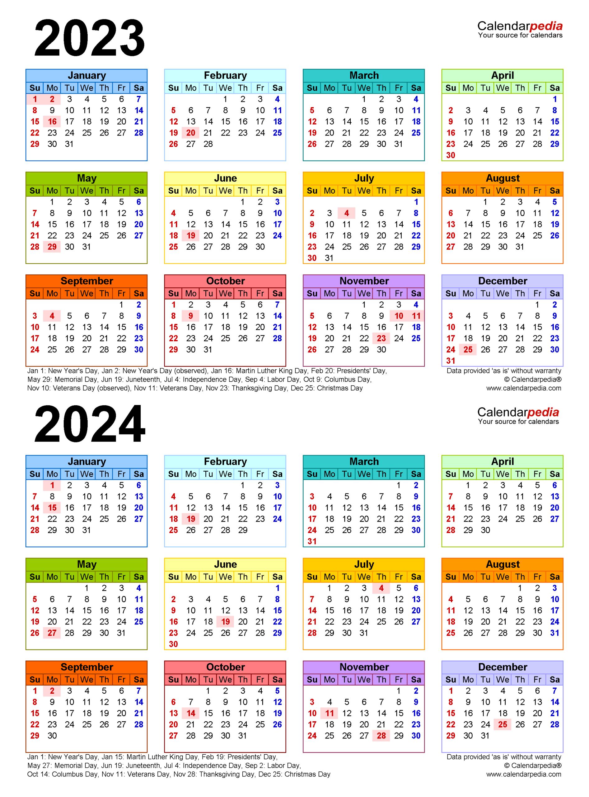 2023-2024 Two Year Calendar - Free Printable Microsoft