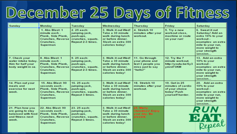 25 Days Of Fitness December 2014 Starts Now! - Run Eat Repeat
