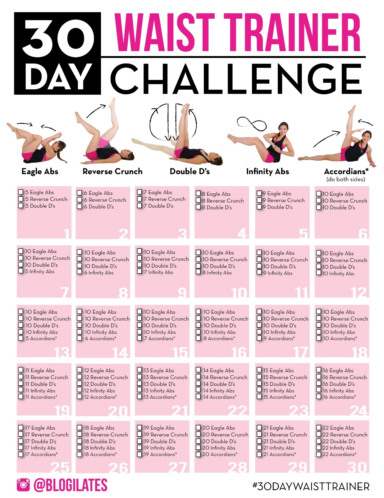 30 Day Inner Thigh Challenge   Free Printable Calendar Monthly