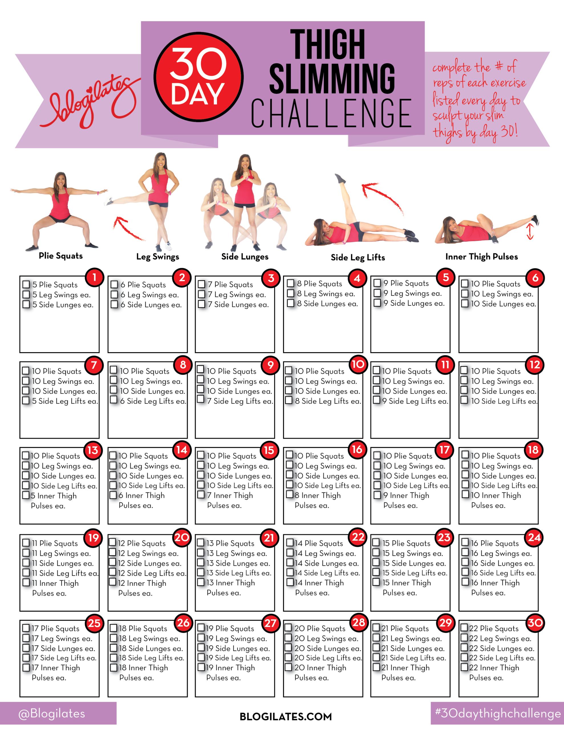 30 Day Inner Thigh Challenge Printable   Esercizi Di