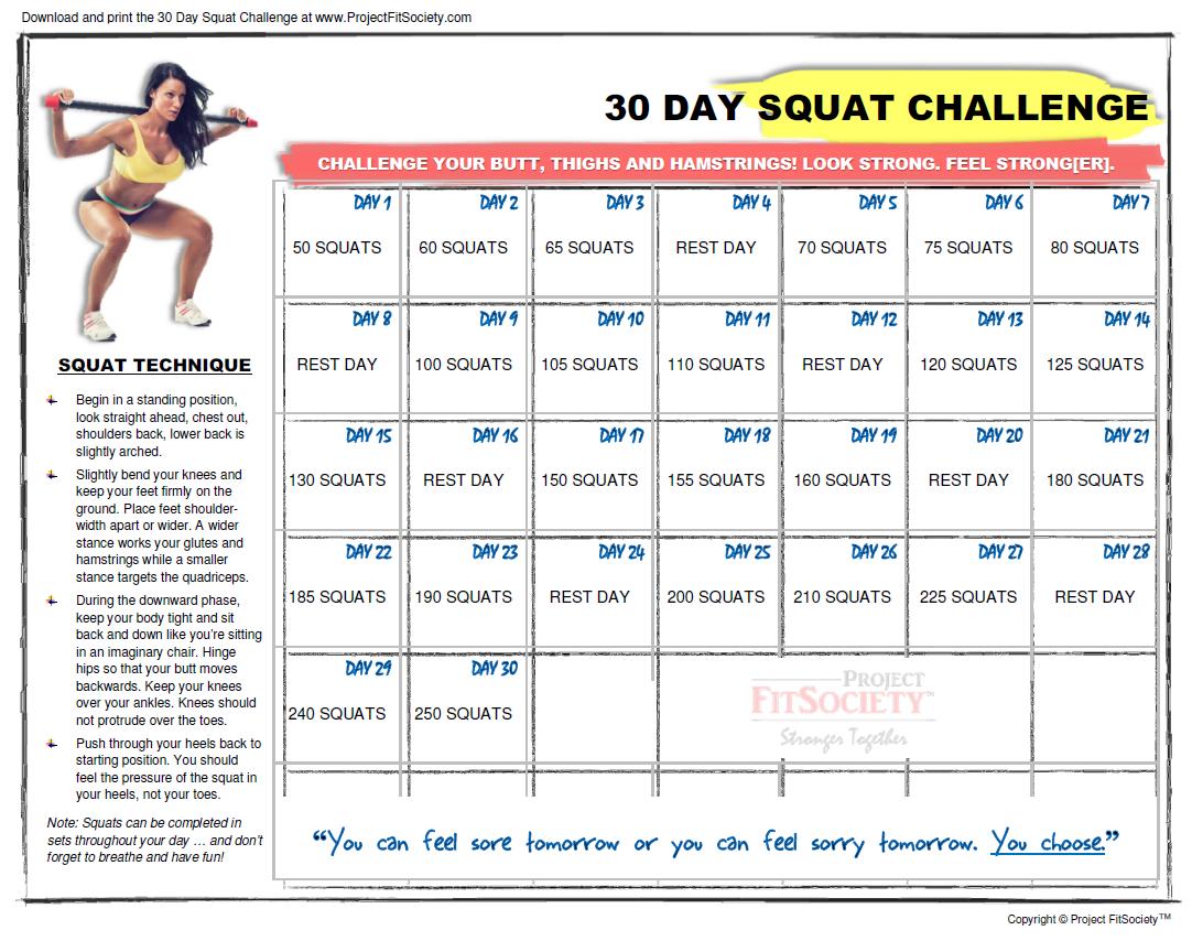 30 Day Squat Challenge Schedule Calendar   Printable