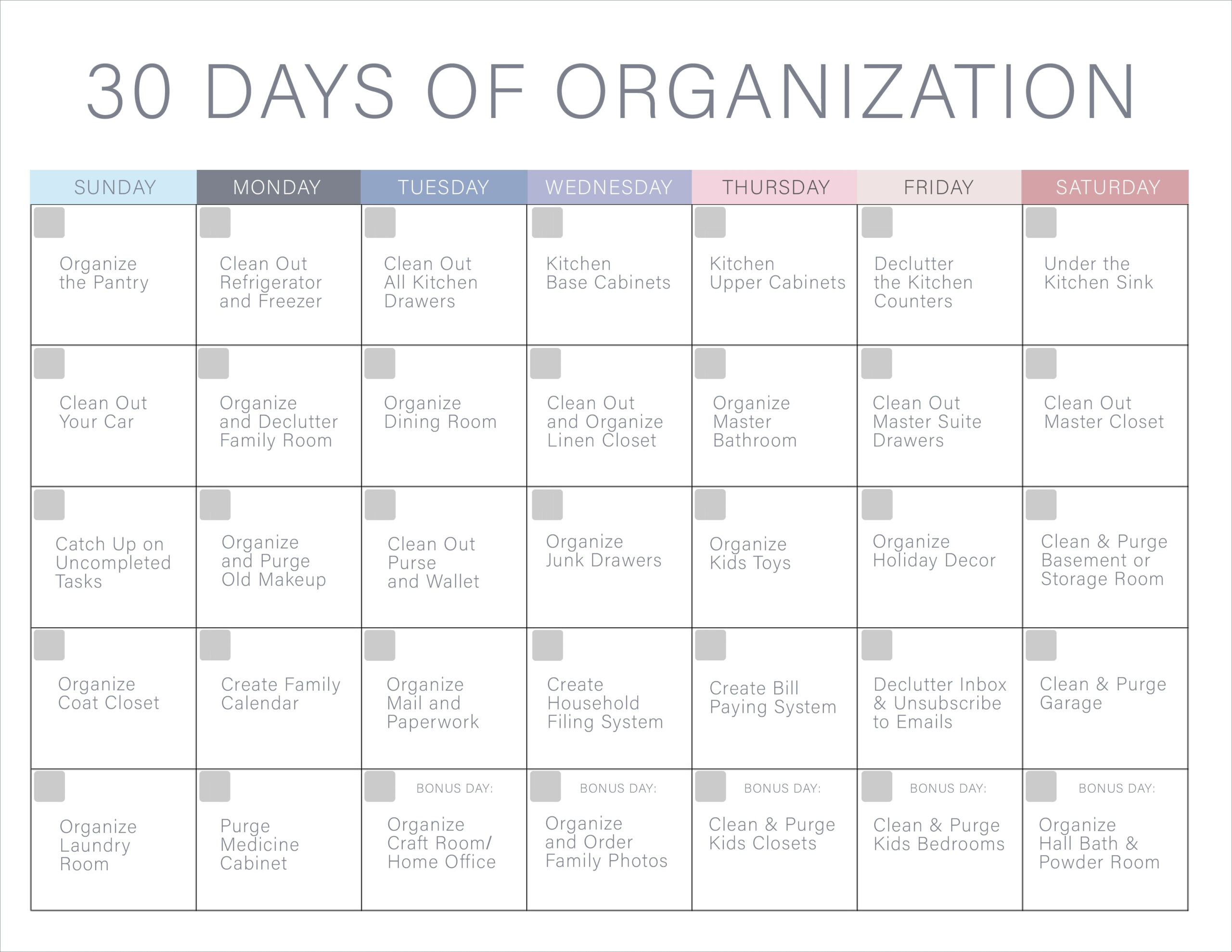 30 Days Of Organization Challenge - Declutter Your Home!