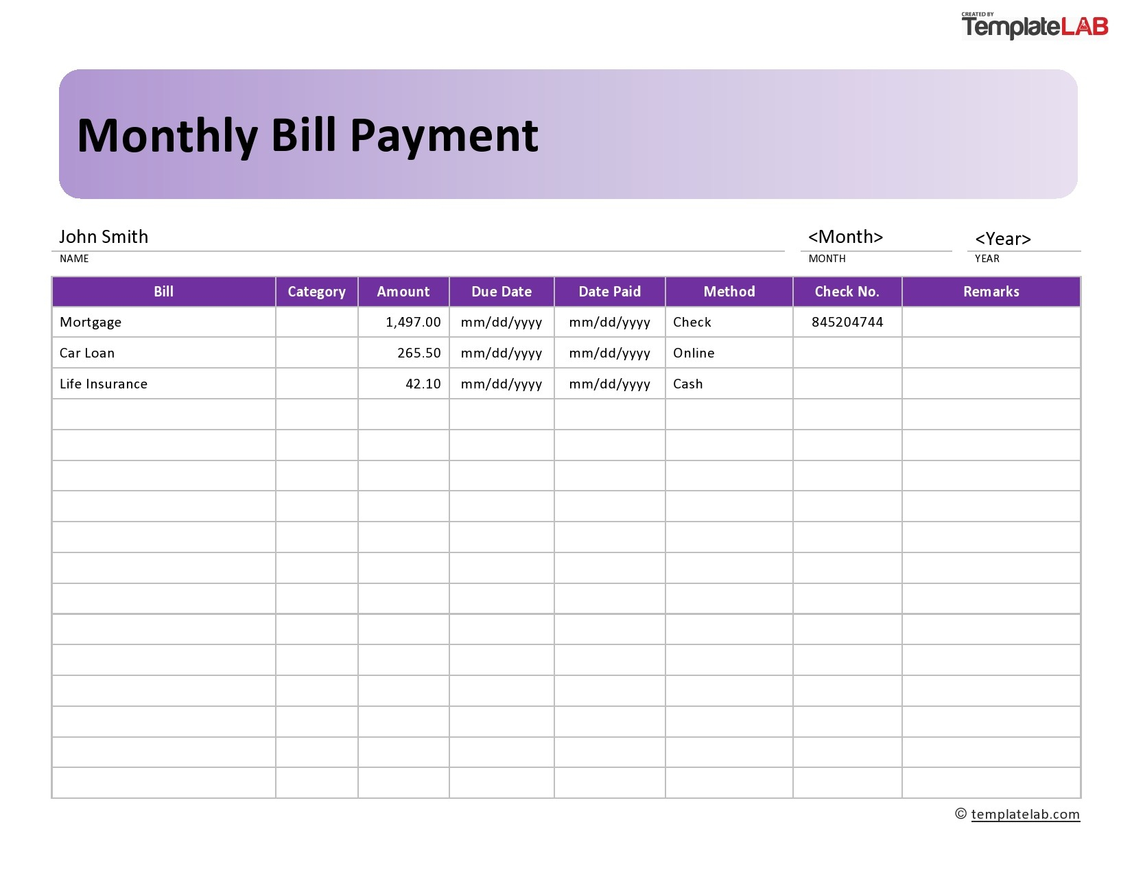 33 Free Bill Pay Checklists & Bill Calendars (Pdf, Word
