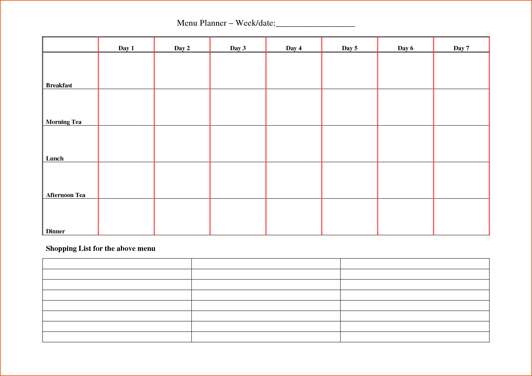 5 Day Weekly Schedule Template Printable The Seven Secrets