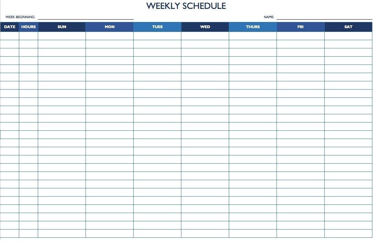 7 Day 24 Hour Calendar Template | Daily Calendar Template