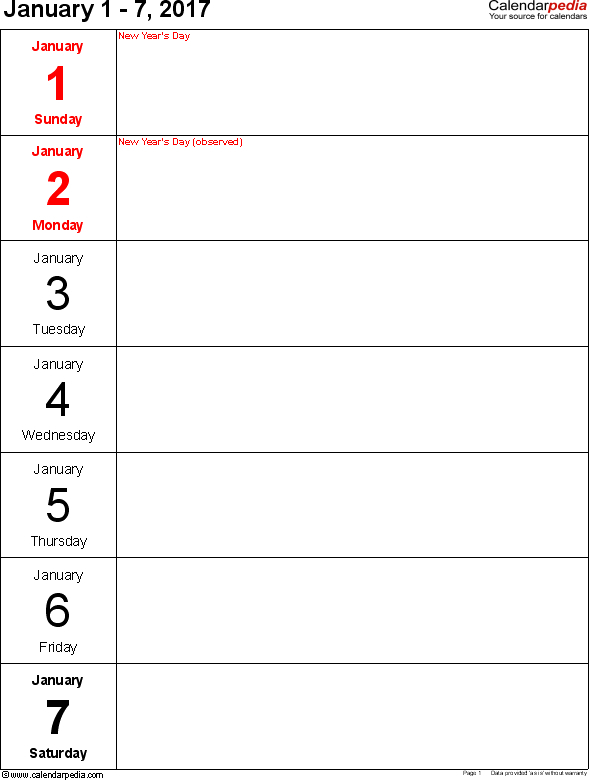 7 Day Router Blank :-Free Calendar Template