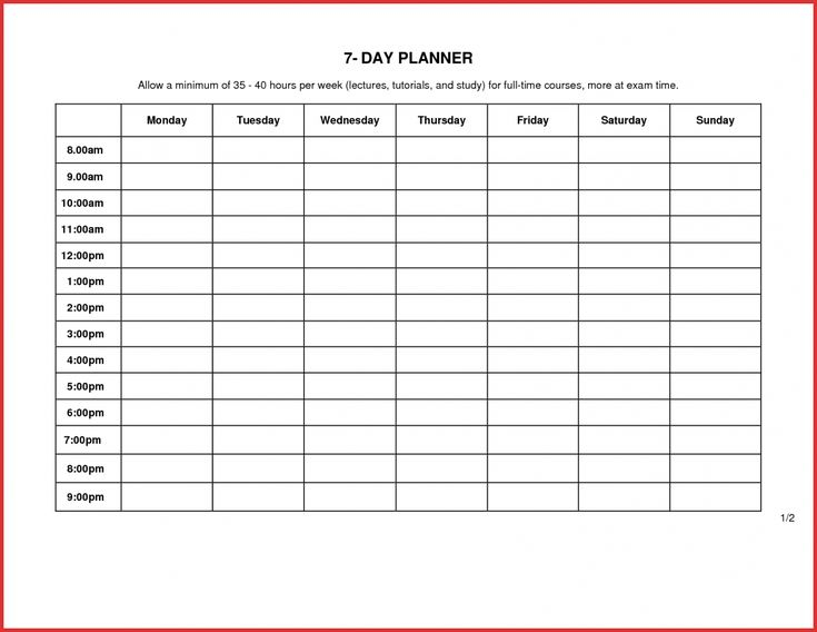 7 Day Week Schedule Template - Yatay.horizonconsulting.co