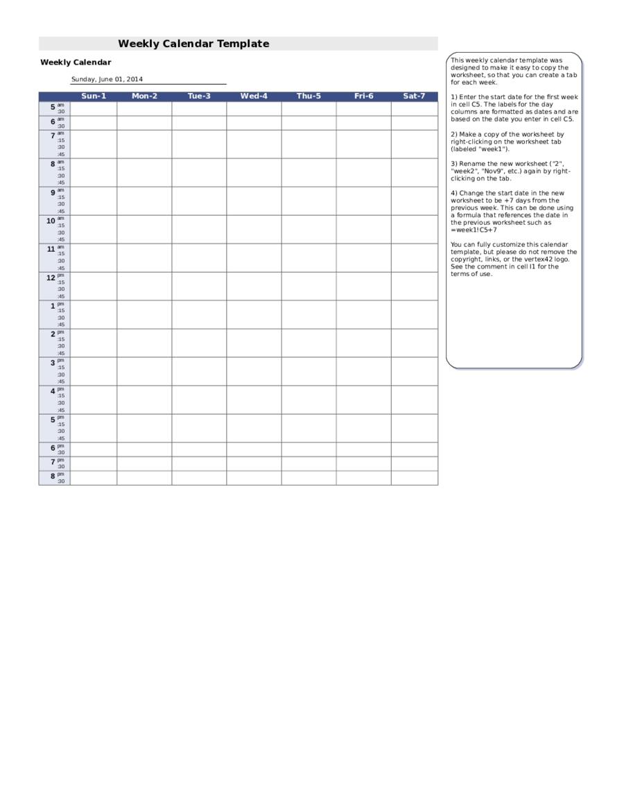 7 Day Weekly Planner Template Printable   Calendar
