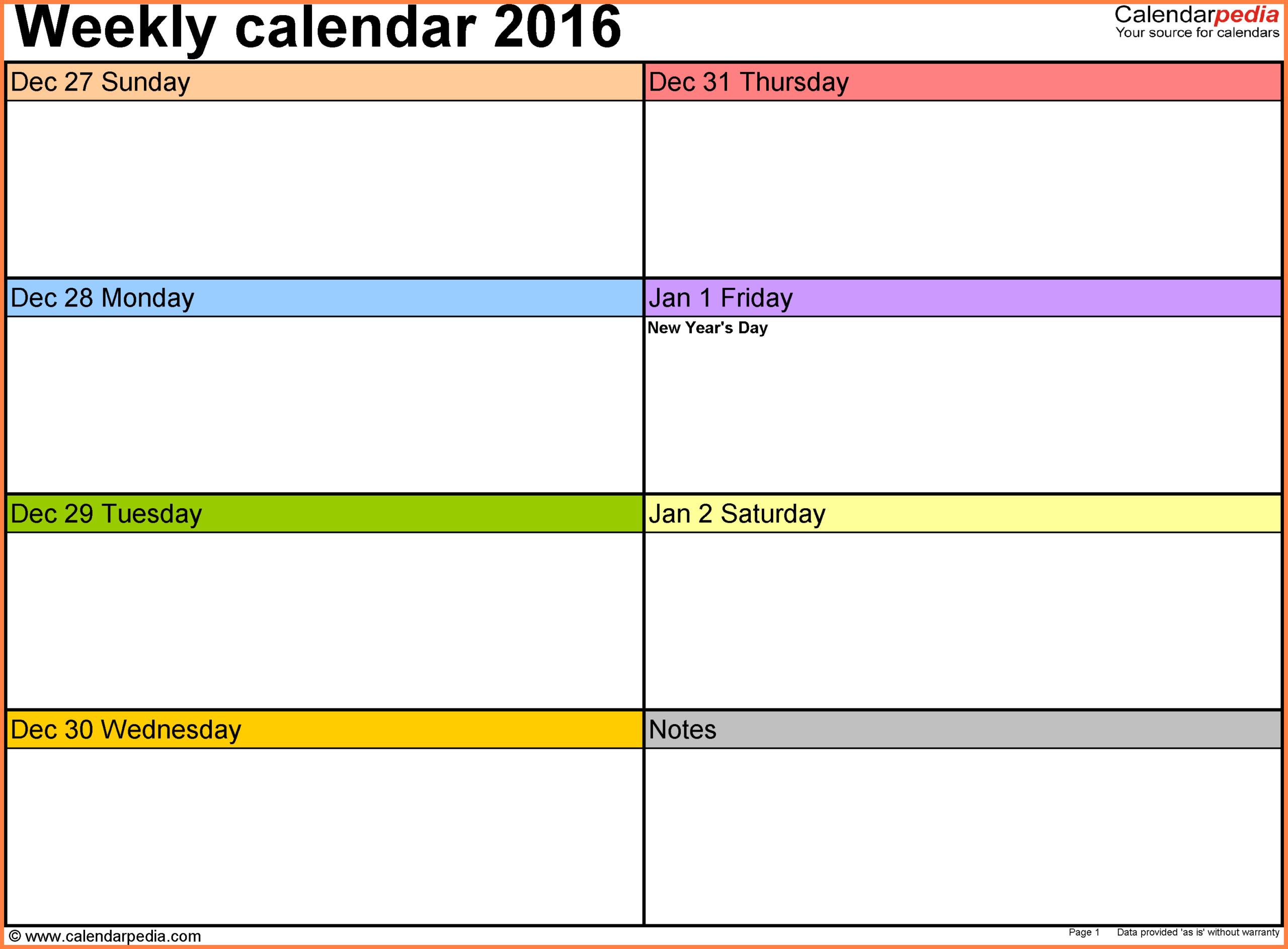 7+ Weekly Calendar Template Word - Marital Settlements