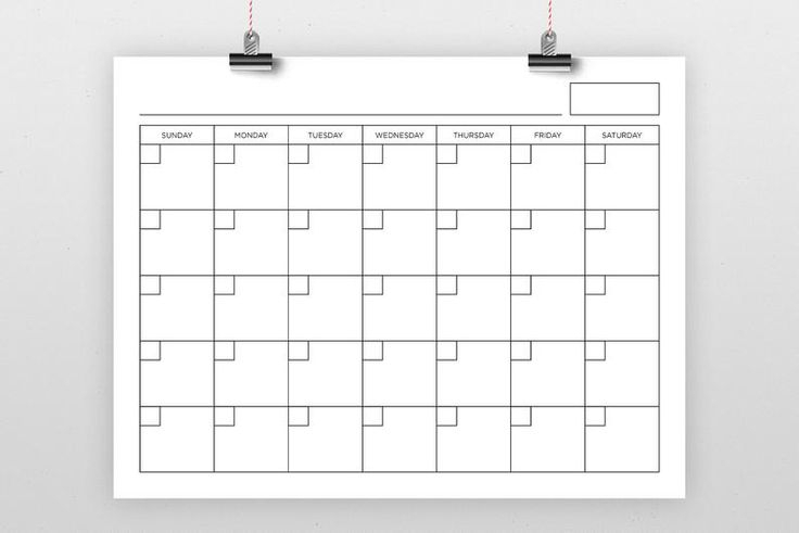 8.5 X 11 Inch Blank Calendar Page Template | Instant
