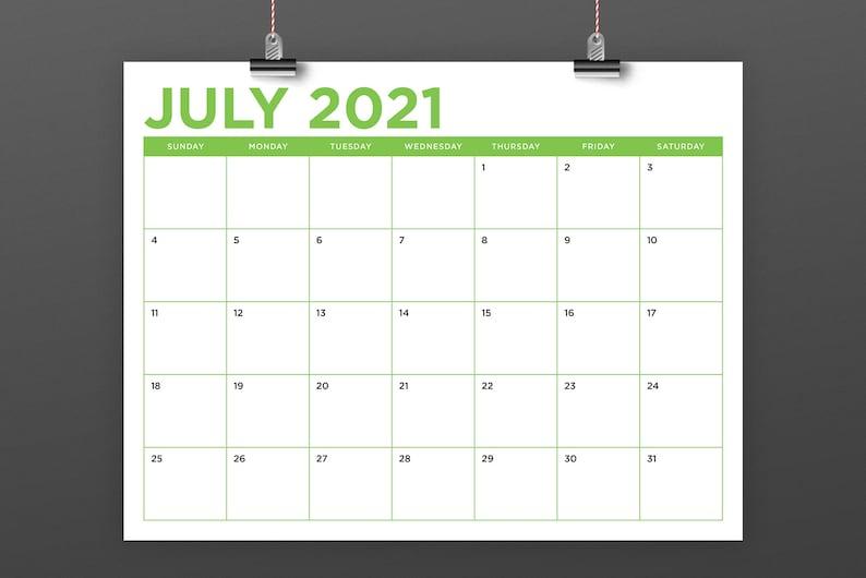 8.5 X 11 Inch Color 2021 Calendar Template Instant