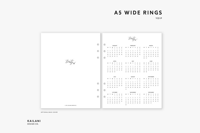 A5 Wide Rings 2020 Year At A Glance Insert Printable   Etsy
