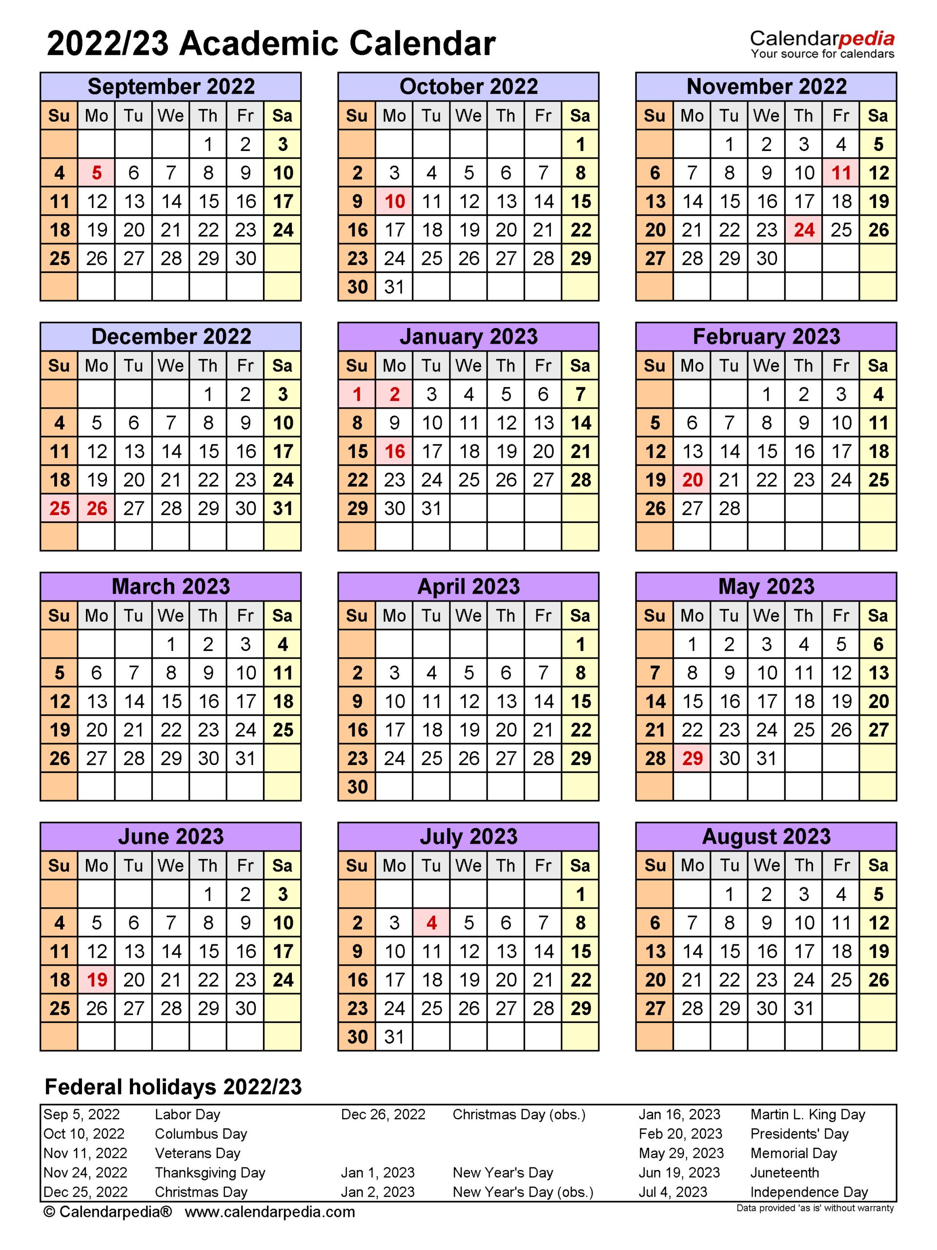 Academic Calendars 2022/2023 - Free Printable Word Templates