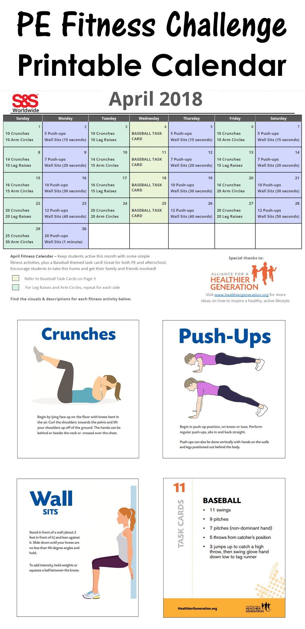 April Fitness Challenge Calendar   Printable Calendar 2021