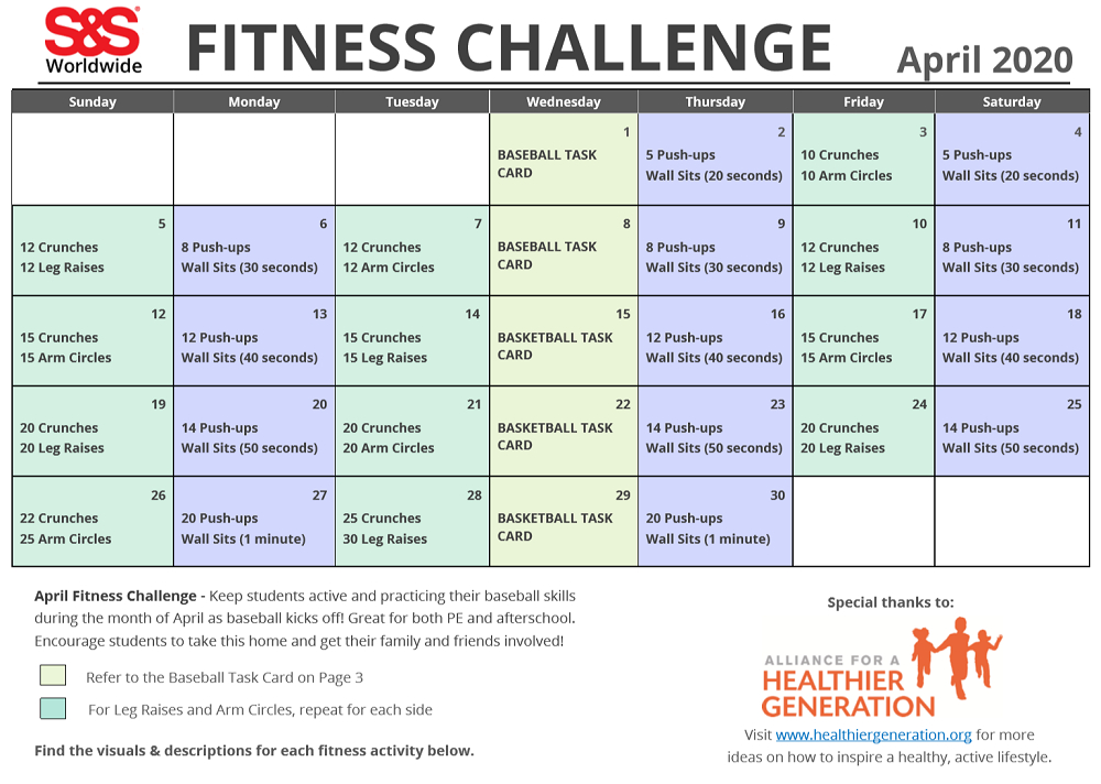 April Printable Fitness Challenge Calendar In 2020 (With