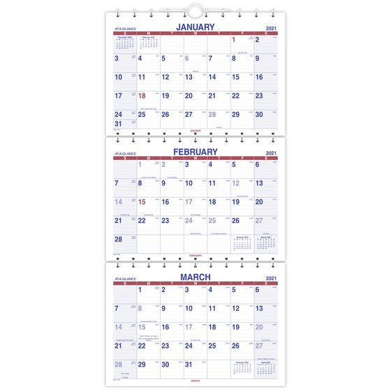 At-A-Glance 2021 Move-A-Page Three Month Wall Calendar