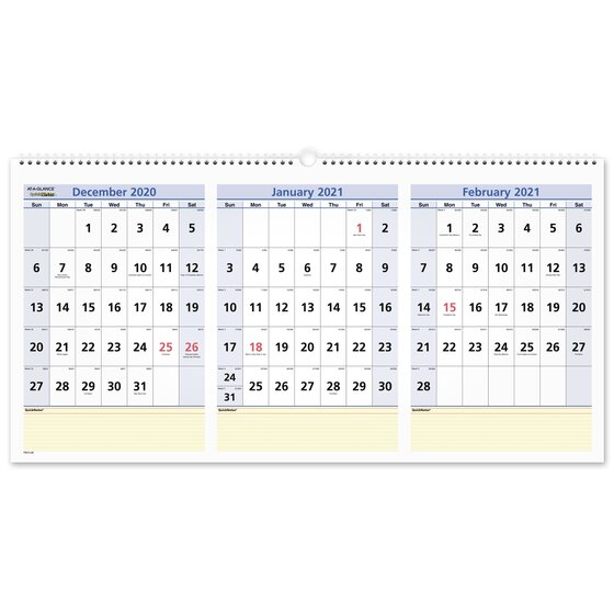 At-A-Glance 2021 Quicknotes Three Month Horizontal Wall