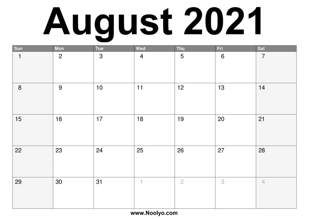 August 2021 Calendar Printable - Free Download - Noolyo