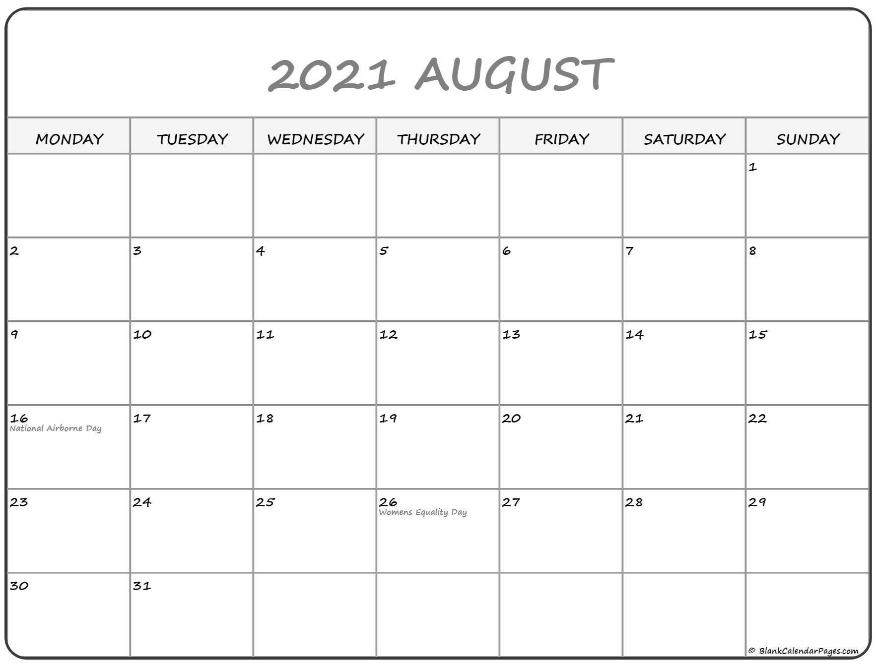 August 2021 Monday Calendar | Monday To Sunday